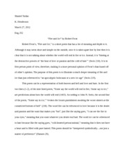 """Fire and Ice"" by Robert Frost-Poetry Analysis Paper"