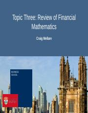 Topic Three - Financial Mathematics
