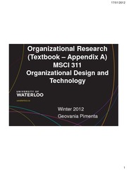 MSCI311 Organizational Research