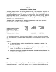 Assignment on Process Costing - No Spoilage