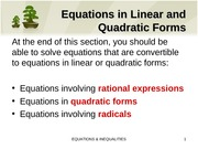 4.2 Equations in Linear and Quadratic Forms