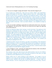 critical and creative thinking questions chapter 15 visualizing psychology While critical thinking skills based on it's an innate characteristic of human psychology to i recognize all ten of these mental blocks to creative thinking.
