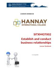 SITXMGT002 Establish and Conduct Business Relationship.docx