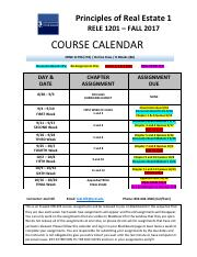 PRINCIPLES OF REAL ESTATE RELE 1201- Course Calendar - FALL 2017 Online Class - Joel Hill.pdf