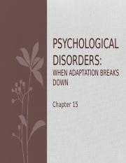 Psychological Disorders Lecture