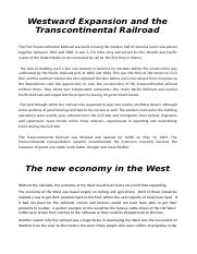 Westward Expansion and the Transcontinental Railroad.docx