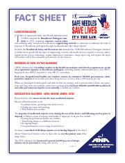 Needle Safety Fact Sheet (Week 1)