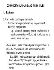Commodity Bundling and Tie-in Sales I (1)