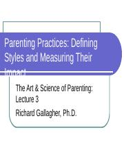 Lecture 3A Science and the Measurement of Parenting Styles 2 16