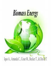 Project 2_ Biomass pdf - Biomass Energy Iquo A Amanda C