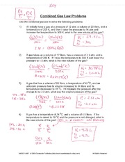 Worksheet Combined Gas Law Worksheet combined gas law problems key