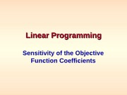 Linear Programming -- Objective Sensitivity