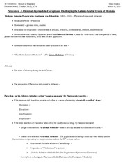 History of Pharmacy - class outline - March 11, 2011