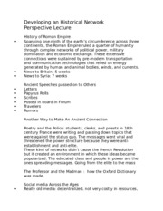 Developing an Historical Network Perspective Lecture