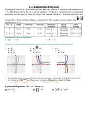 Study Guide Solution on Exponential Functions