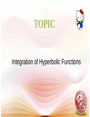 Lesson 9 Integration of Hyperbolic Functions - Copy