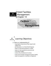 Ch10 - Hotel Facilities Management
