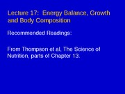 Lecture 17 - Energy Balance
