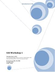 SAS Workshop 1 - Introduction to SAS (2016-08-22)