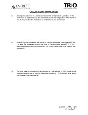Printables Calorimetry Worksheet pra047 calorimetry practice worksheet 1 compound a is burned in 2 pages wksht