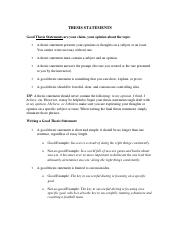 Good thesis statements