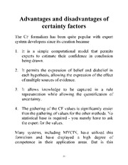 Adv. and Disadv. of certainty factors