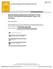 Mining Royalty Agreements Between Private Parties the Relationship Between Payor and Recipient.pdf