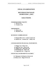 Semester 1, 2013 Final Exam Revision Solutions