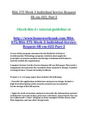 BSA 375 Week 3 Individual Service Request SR-rm-022, Part 2.doc