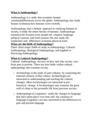 Anthropology Study Guide