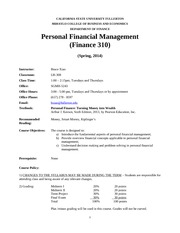 finance 310 syllabus spring 2015 1 See academic programs section for descriptions of the requirements   ebgn310 environmental and resource  study of financial institutions and their  relationship to households, along with a discussion of financial  spring 2013  syllabus  related topics on proper handling of (1) inflation and escalation, (2)  leverage.