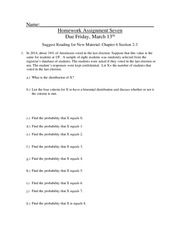 Homework 7 on Introductory Statistics
