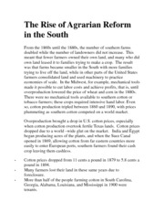 The Rise of Agrarian Reform in the South