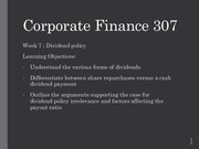 Fin Corp 307 Week 7 Lecture
