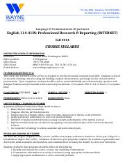 English 114-41 SYLLABUS (Fall 2014)