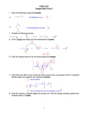 Organic Chemistry - Sample Mid-Term 2