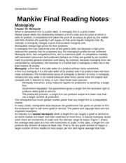 mankiw final reading notes