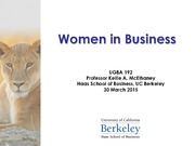 UGBA 192T Women in Business: Women & Corporate Performance Lecture