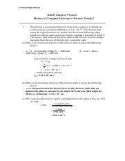 Worksheet - Motion of Charged Particles in Electric Fields 2 Solutions.doc
