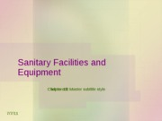 Chapter 11 Sanitary Facilities and Equipmenttt