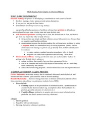 OB Chapter 11 Reading Notes:  Decision Making