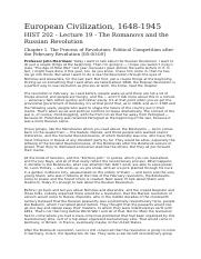 Lecture 19 - The Romanovs and the Russian Revolution.docx
