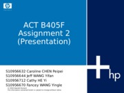 405 Assignment 2 T01 Week11 ppt