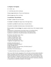 French Notes 7:  The Negation