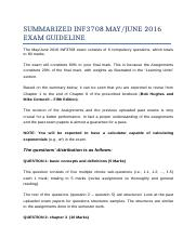 SUMMARIZED_INF3708_S1_2016_EXAM_GUIDELINE