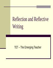 Reflection and Reflective Writing