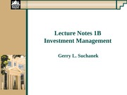 lecture Notes 1B-Investment Mgt