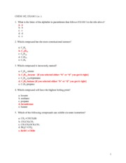 CHEM 102 EXAM I - VERSION A - with answers
