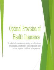 Optimal Provision of Health Insurance