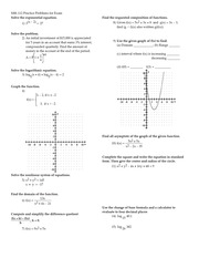 Practice Final Exam on College Algebra